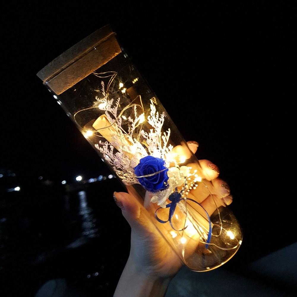 [라알레그리아] 특별한 편지지 세트 꽃 LED 특이한 유리병편지 생일 크리스마스 선물 여자친구 결혼 100일 기념일 감동 키스데이, 블루 장미(프리저브드), 1세트