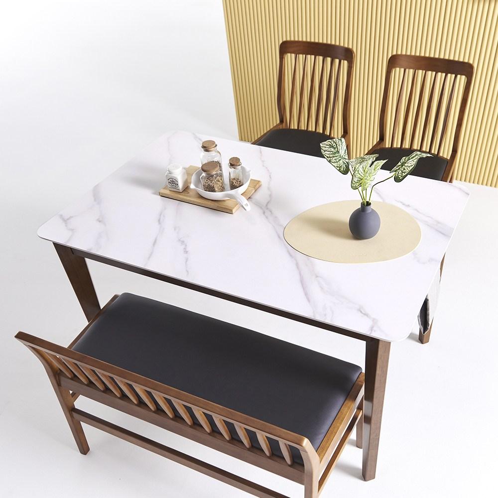 씨엘로 천연 포셀린 통세라믹 12T 4인용 식탁세트, 4인 테이블단품, 월넛