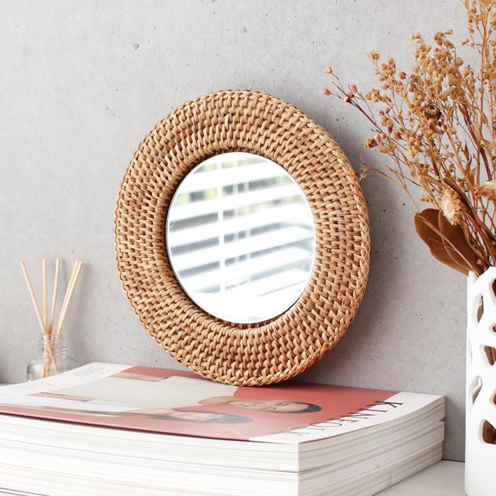 라탄 디자인 거울 - 원형 1호, 단품