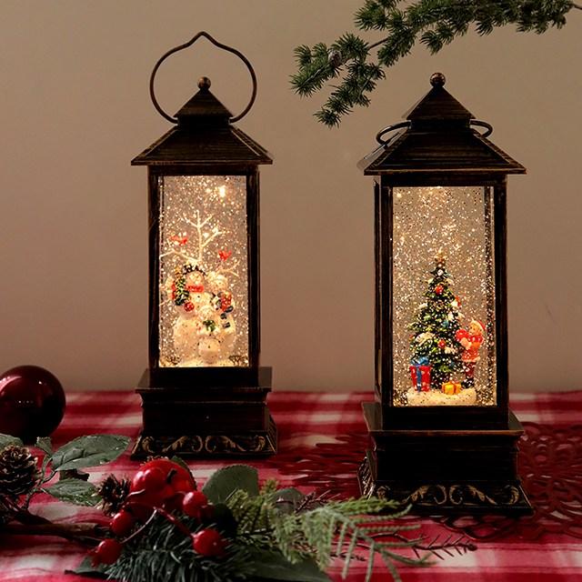 크리스마스 LED 오르골 스노우볼 워터볼 산타 눈사람 랜턴 장식 인테리어 선물 3종, 01. 스노우맨