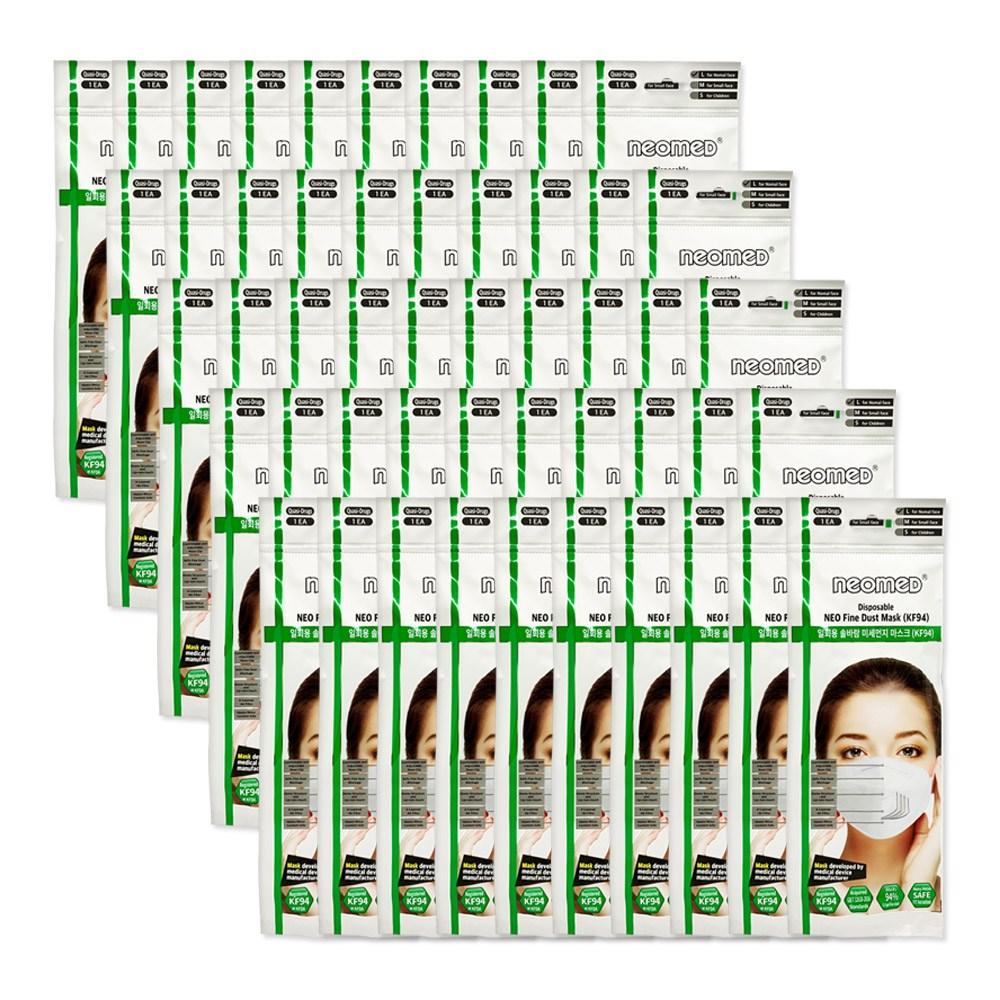 네오메드 KF94 대형 화이트 일회용미세먼지마스크50개, 50개, 1개입
