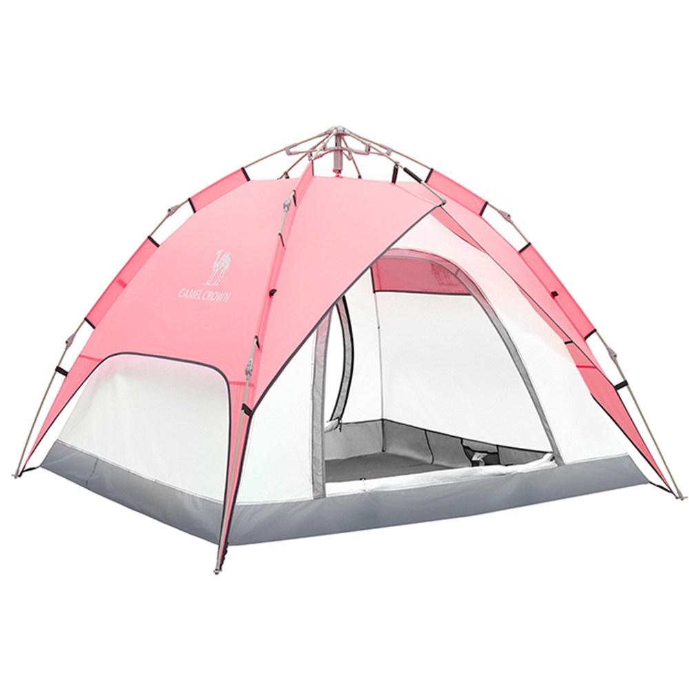 오토텐트 방수 원터치 캠핑 텐트, 핑크