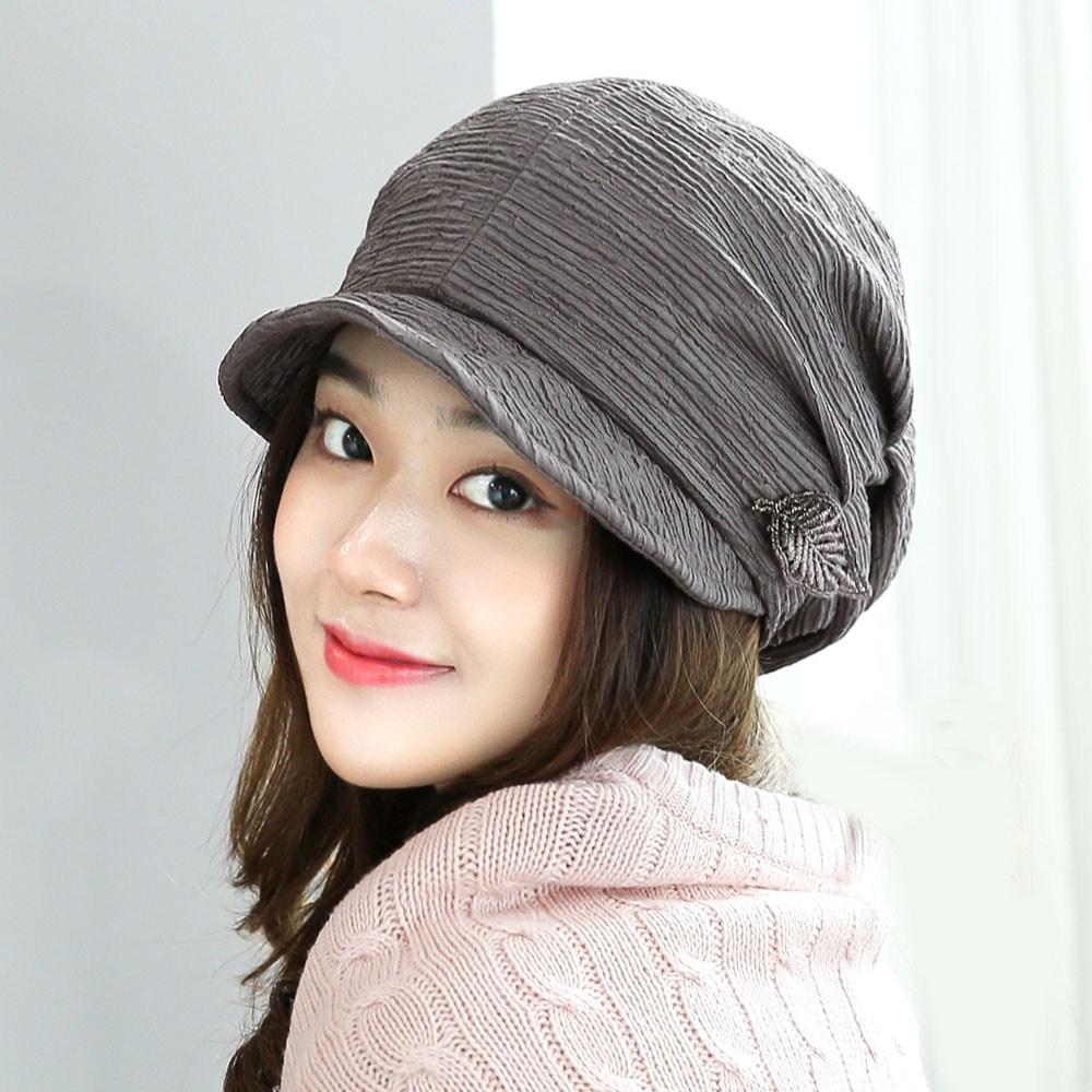 베리플로피 여성비니 가을 겨울 챙모자 패션 머리두건 여자 버킷햇 츠리브챙비니 (3컬러)