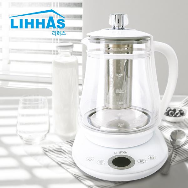 리하스 24시간 보온 분유포트 TEK-3519A 전기 무선 티포트 커피포트 전기주전자, 화이트