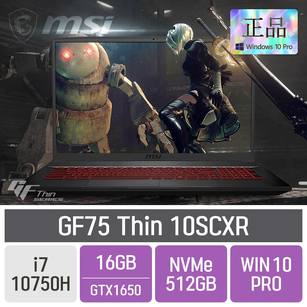 MSI 게이밍 GF75 Thin 10SCXR, 16GB, SSD 512GB, 포함