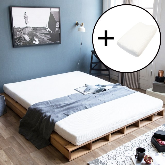 토레도스 메모리폼 매트리스 토퍼 1+1(베개) 슈퍼싱글 퀸 침대 바닥 100% MDI 고밀도