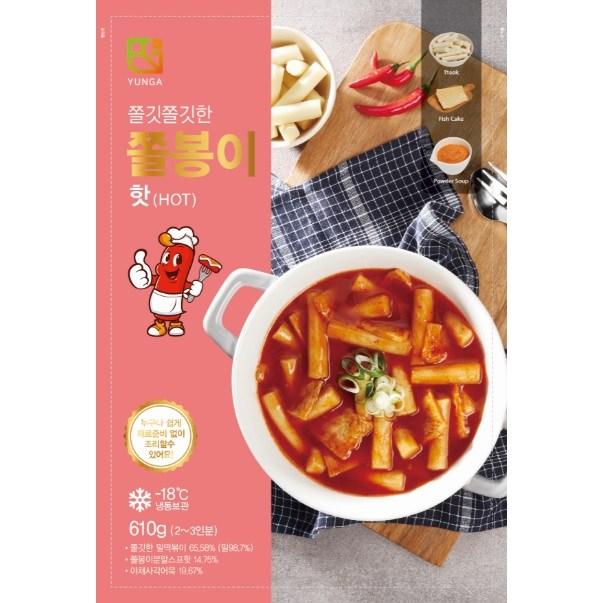 쫄봉이 밀떡볶이 핫(매운맛) 610g (밀떡 200g*2팩 야채어묵 60g*2팩 전용소스 45g*2팩 포함)