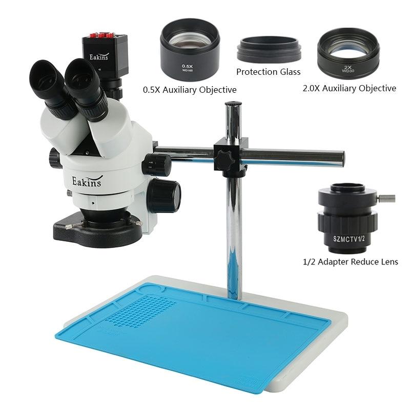 전자현미경 두피카메라 microscope 3.5X-90X 동시 초점 삼안 스테레오 현미경 1080P HDMI VGA 디지털 카메라 LED 조명 아이폰 수리 납땜, 협동사, 3.5-90X 0.5X 1X 2X