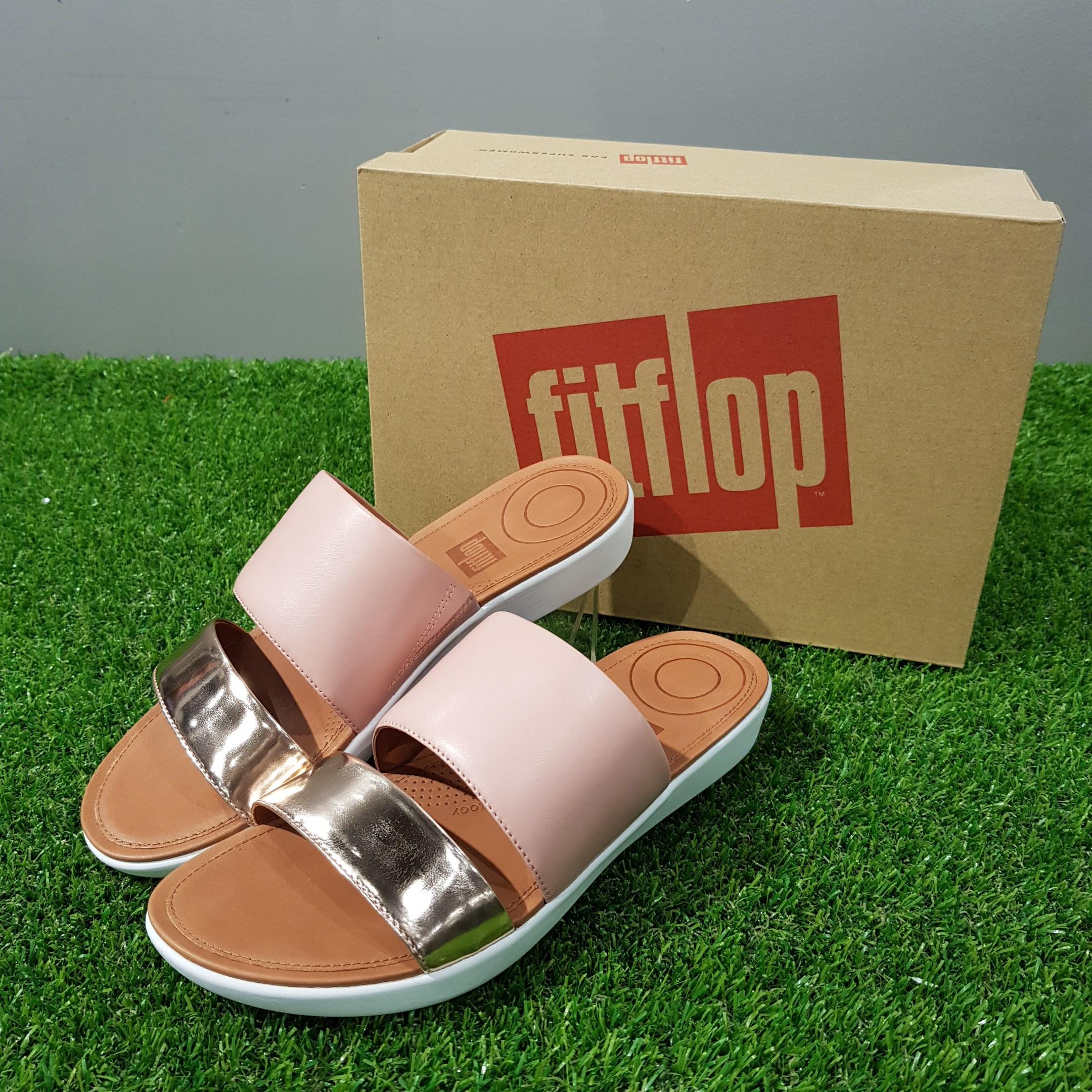 핏플랍 fitflop 여성 샌들 Delta Slide Sandals Leather 핑크&골드 (K29-556)