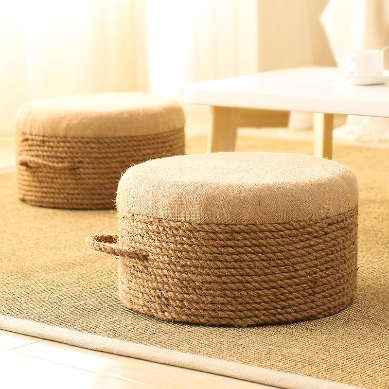 다다미 원형 라탄스툴 나무 우드 스툴 의자, 직경 40 [높이 20CM] + 삼원색 (사진)