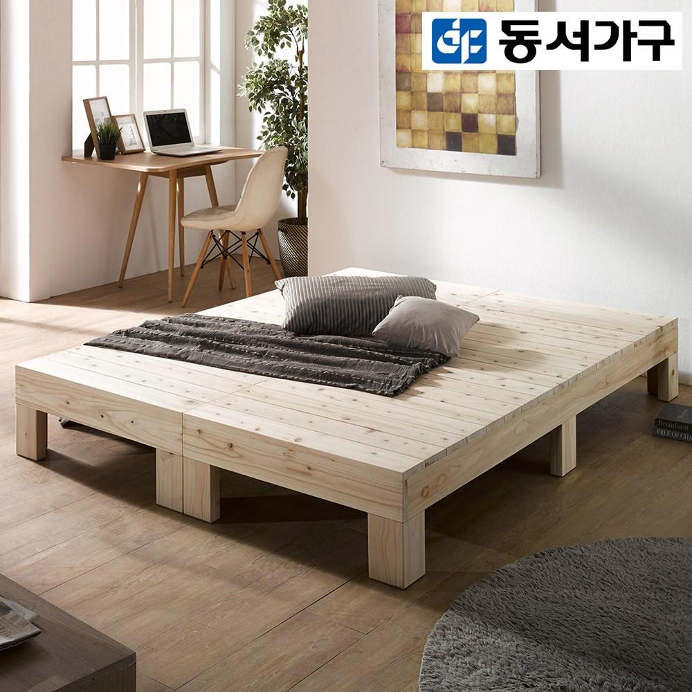 동서가구 루니 편백나무 통원목 Q 침대 프레임 DF909994, 내추럴