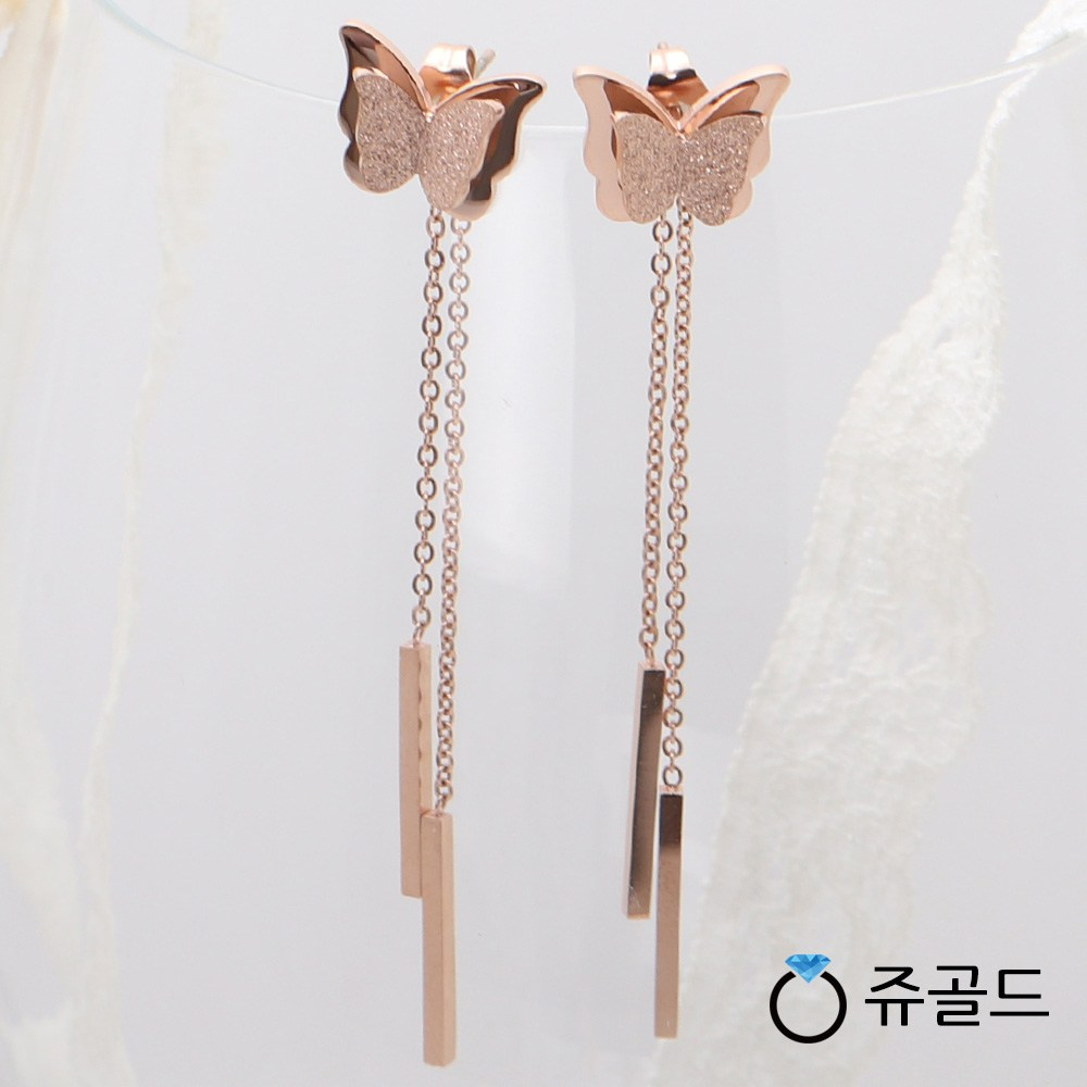 쥬골드 써지컬스틸 귀걸이 핑크 패션 나비 체인 드롭 롱