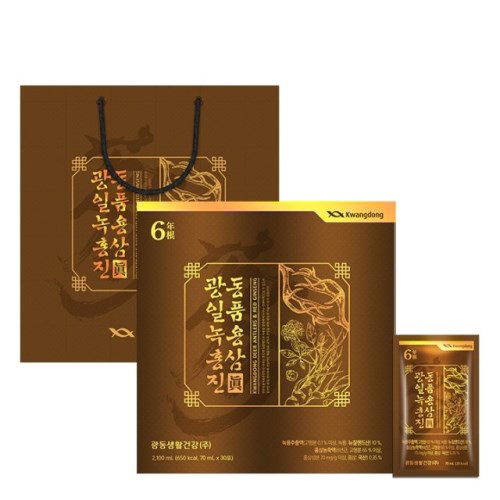 [원기회복] 광동 녹용 홍삼 진 + 쇼핑백 70ml 30포, 1개 - 랭킹43위 (38800원)