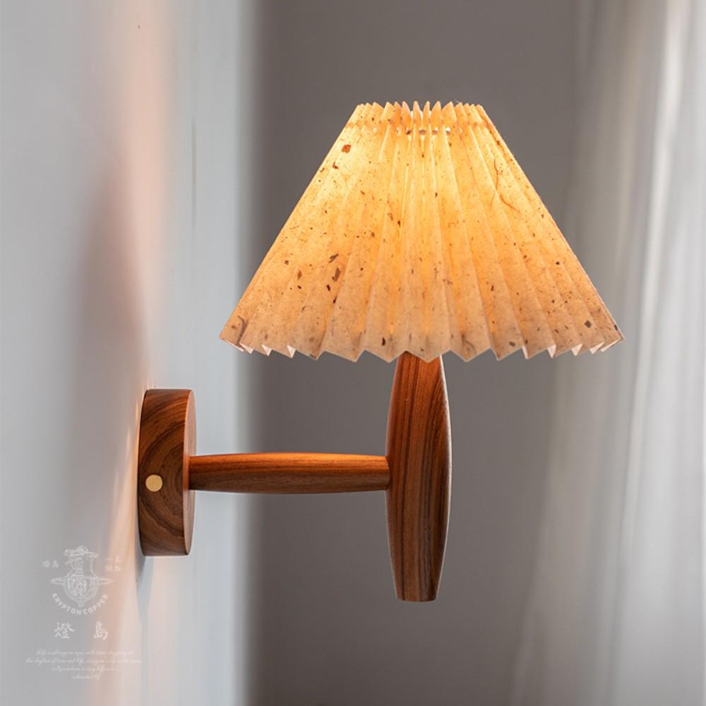 플리츠벽조명 빈티지 주름 벽 램프 라탄 우드 베란다포차 홈포차 인테리어, 버마어 티크 + 깨진 포인트 전등갓