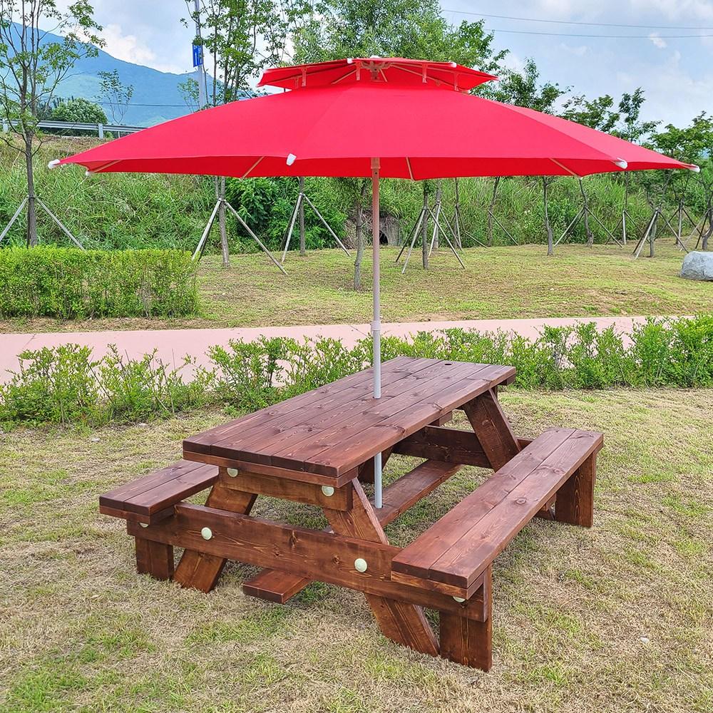 올리브가구 일체형 야외원목테이블 카페테이블 야외평상 바베큐그릴 파라솔 야외테이블세트, 03_일체형 월넛도색 4인용