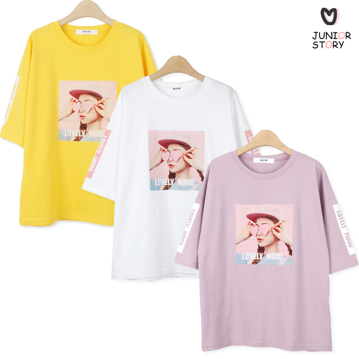 주니어스토리 러블리무드티(반팔)(주니어13 15 17호) 초5 초6 중학생 티셔츠, 연보라