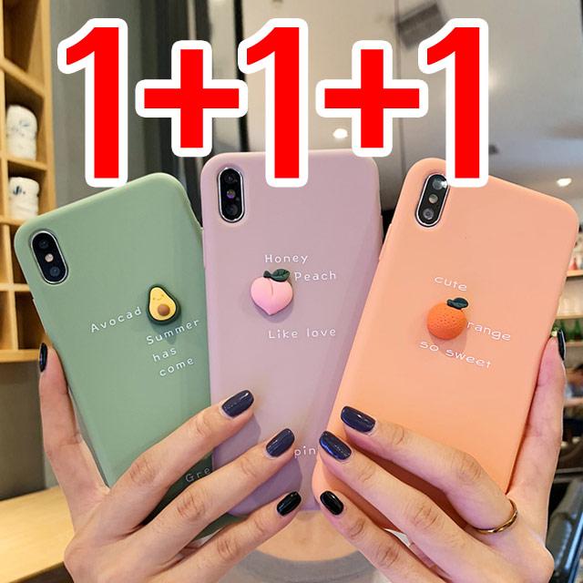 스톤스틸 (1+1+1) 과일 파스텔 실리콘 슬림 케이스 아이폰8 x xr 맥스 아이폰11 SE2 휴대폰-17-1766581218