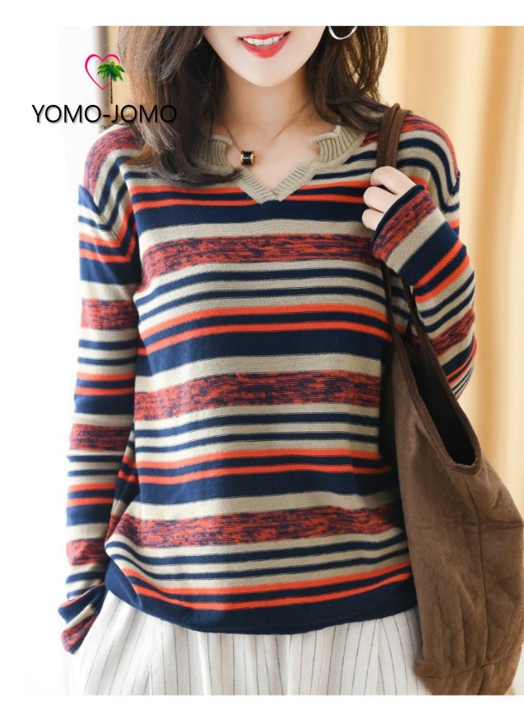 여성 브이넥 가을 겨울 긴팔 줄무늬 티셔츠
