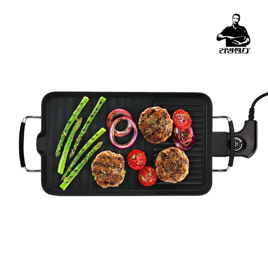 리빙센스 와이드 캠핑 멀티 미니전기그릴 가정용 삼겹살 고기불판 전기팬