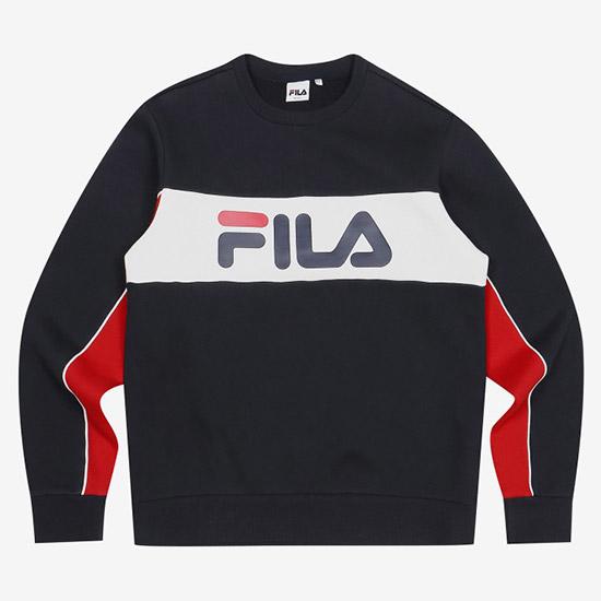 휠라 남녀공용 3단 컬러 기모 스웨트셔츠 FS2POA1202X_INA 맨투맨티셔츠