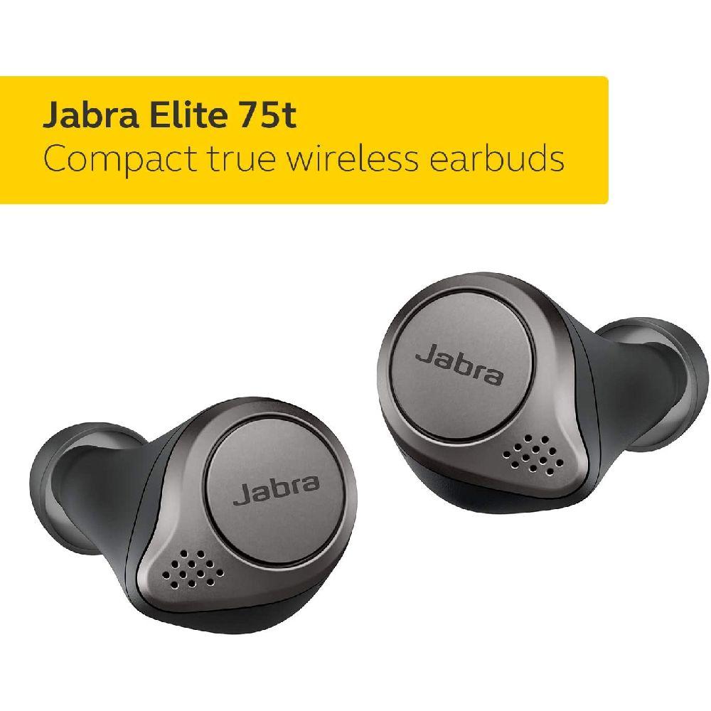 Jabra 자브라 엘리트 75t의 이어 버드 - 무선 이어폰 케이스 티타늄 블랙 충전과 - a 더 편안하고 안정적, 상세페이지참조, Elite 75tTitanium Black
