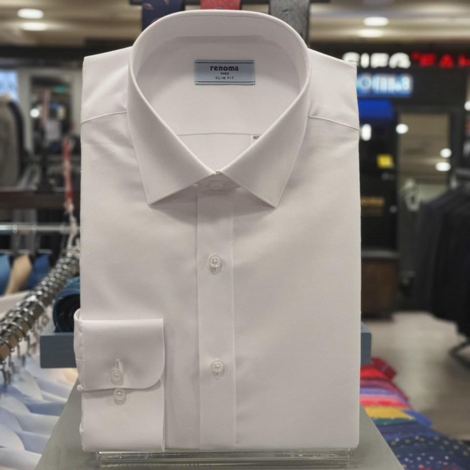 레노마 셔츠 화이트 로열 옥스 포드 정통 드레스 슬림핏 셔츠RKSSLP952WH