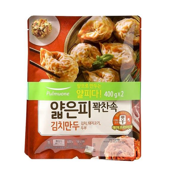 풀무원 얇은피 꽉찬속 김치만두 400g x 2, 아이스박스 포장, 단일상품