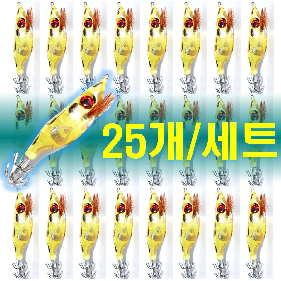 예피싱 25개입 왕눈이 에기 세트 쭈꾸미 갑오징어 문어채비 야광애기, YF06