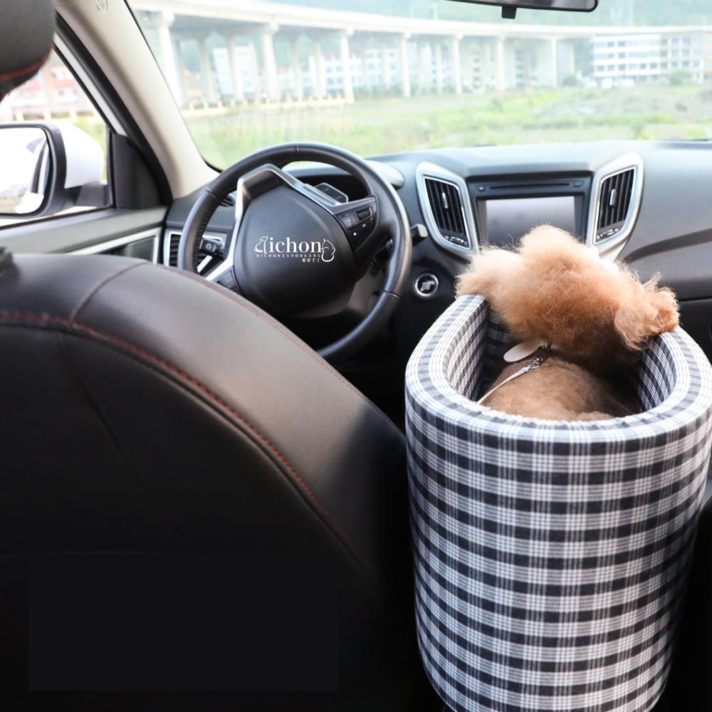 강아지 카시트 소형 강아지 고양이 앞자석 콘솔박스 시트, 검정 체크무늬
