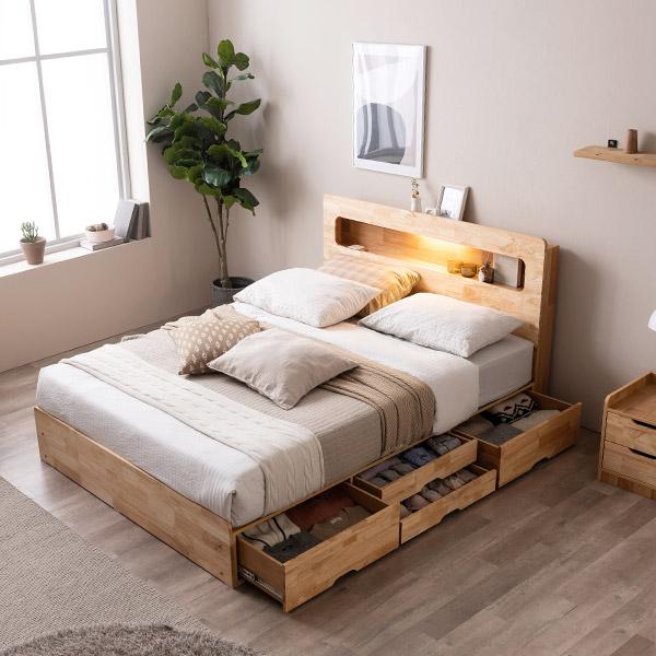 [삼익가구]러버 LED 4단 수납 원목 침대(YS 7존 독립스프링 매트리스-퀸), 내추럴