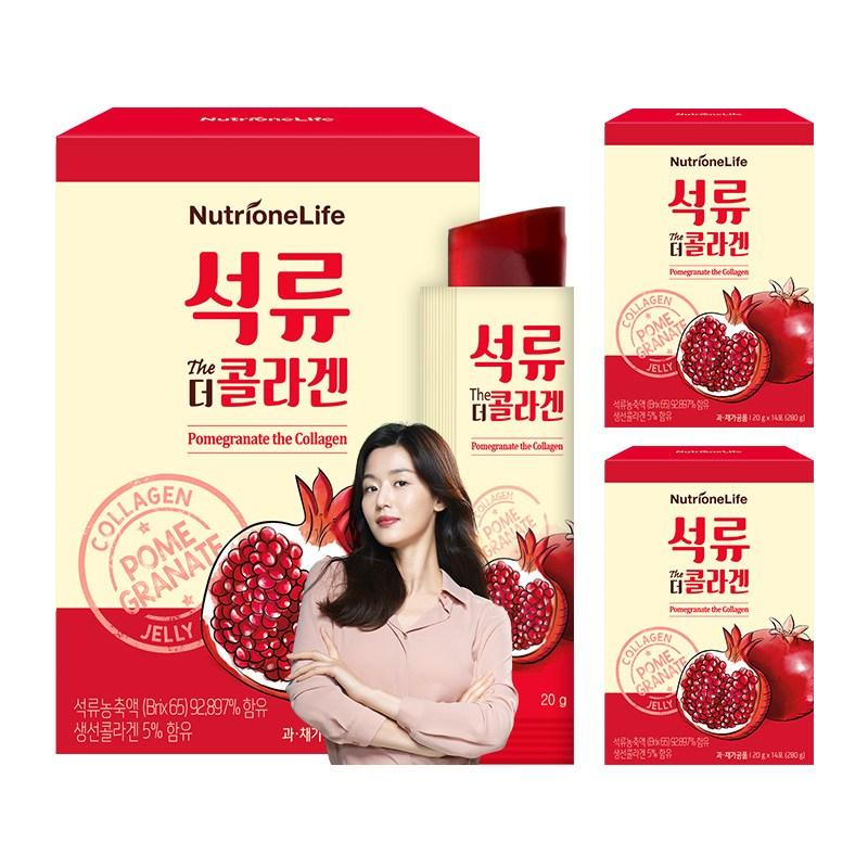 뉴트리원 100% 석류농축액+저분자피쉬콜라겐 석류를 통째로 담은 콜라겐젤리 식물성 에스트로겐 피부건강 + 활력환, 3box, 14포
