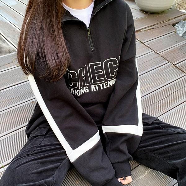 티데일리 체크자수 오버핏 반집업 맨투맨 남녀공용 빅사이즈 긴팔 티셔츠