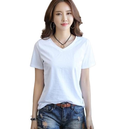더블유먼트 국내생산 여성용 여자 기본 베이직 데일리 봄 여름 브이넥 면티 빅사이즈 반팔 티셔츠