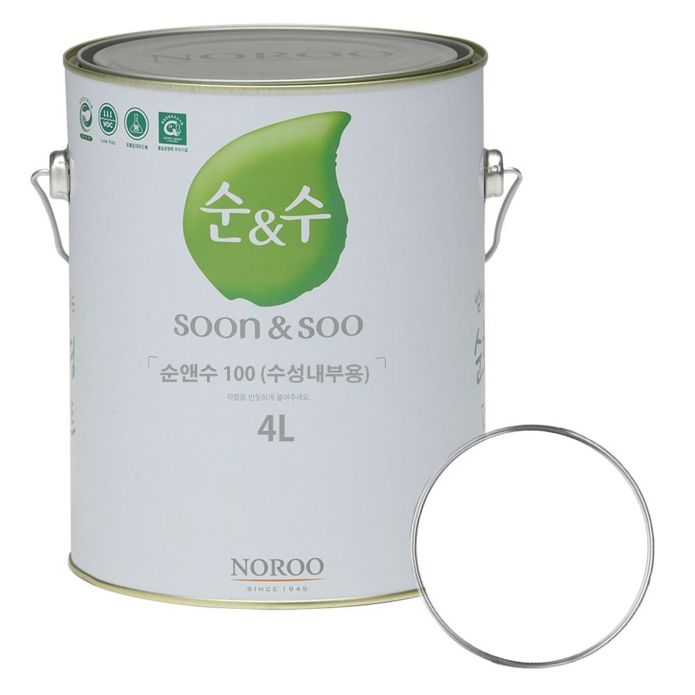 노루페인트 수성페인트 순&수100 4L, 백색