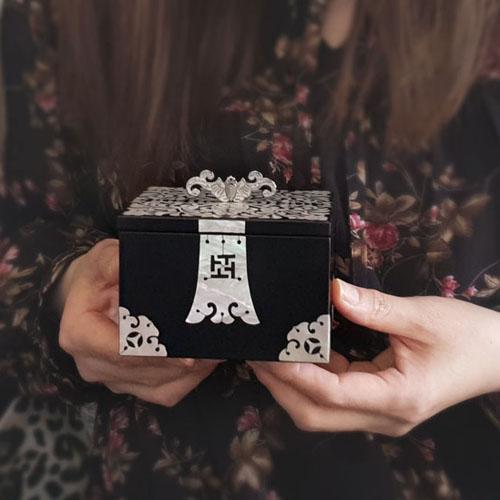 드리다샵 나전칠기 우드 자개 보석함 악세사리 반지보관함 외국인 전통선물, (선물포장)자개보석함