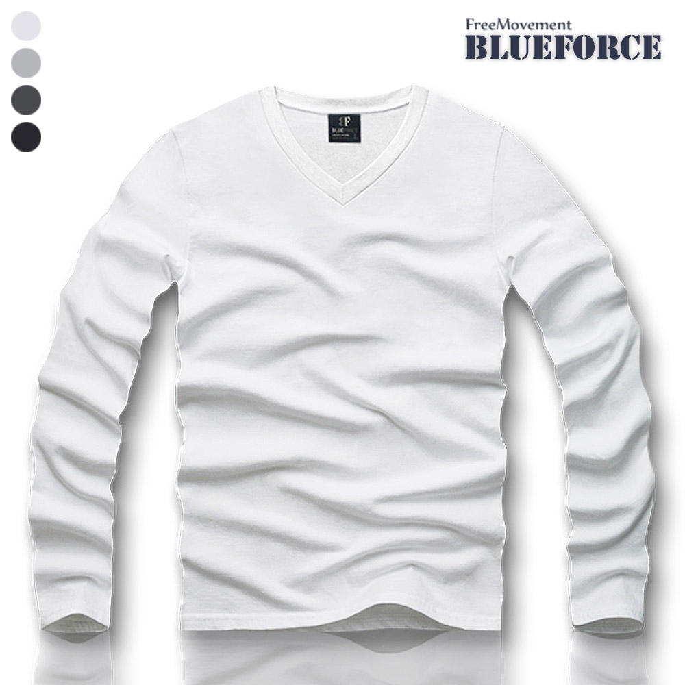 블루포스 남여공용 데안 브이넥티 긴팔티셔츠 기본브이넥 커플무지티 긴팔 티셔츠