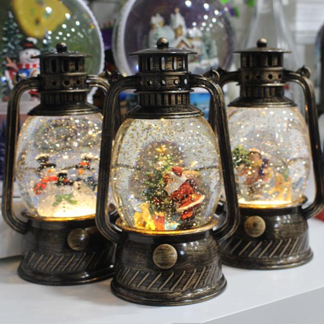 (파스텔스토리)크리스마스 원형 랜턴 워터볼 오르골 /오르골/집들이선물/LED 랜턴 오르골/여자친구선물, 눈사람(12월15일 입고)