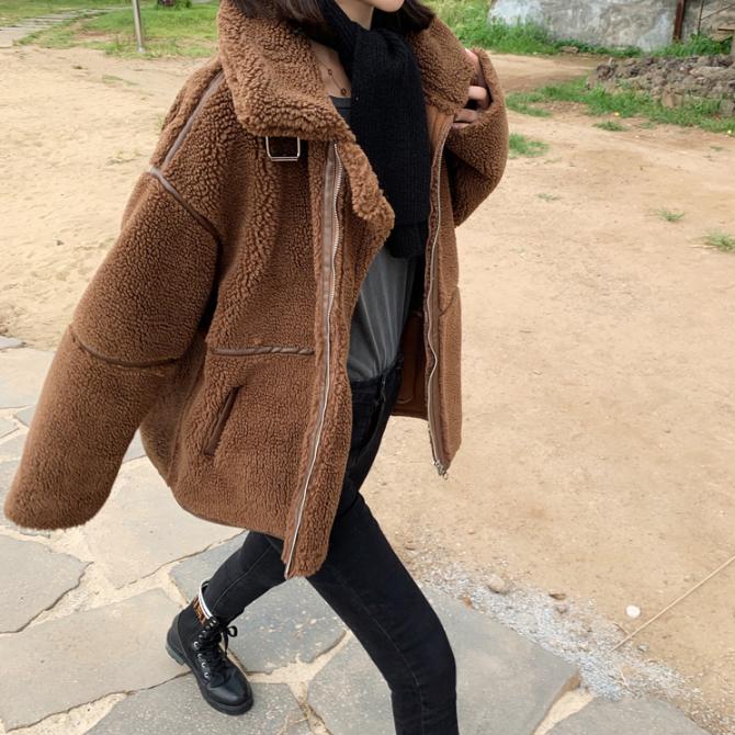 르엠마 테디베어 무스탕 겨울 코트