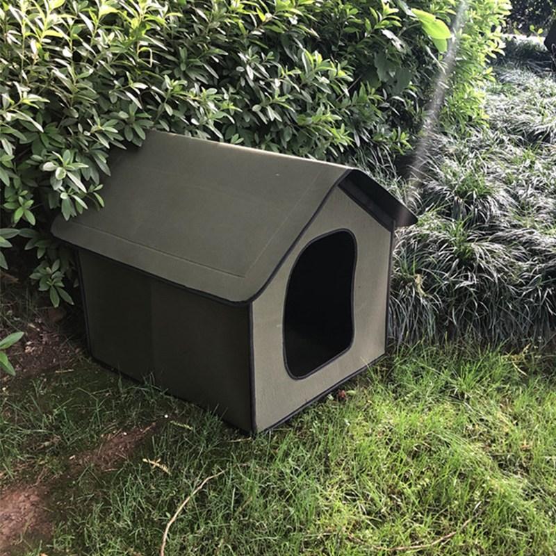 길고양이 급식소 길냥이 겨울 집 하우스 야외견사 고양이 집 숨숨집, 그린_49x38x43(고양이두마리)