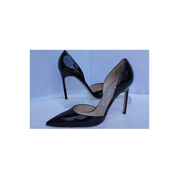 New Manolo Blahnik Tayler Pumps Black Shoes Womens Size 40.5 Patent Leather