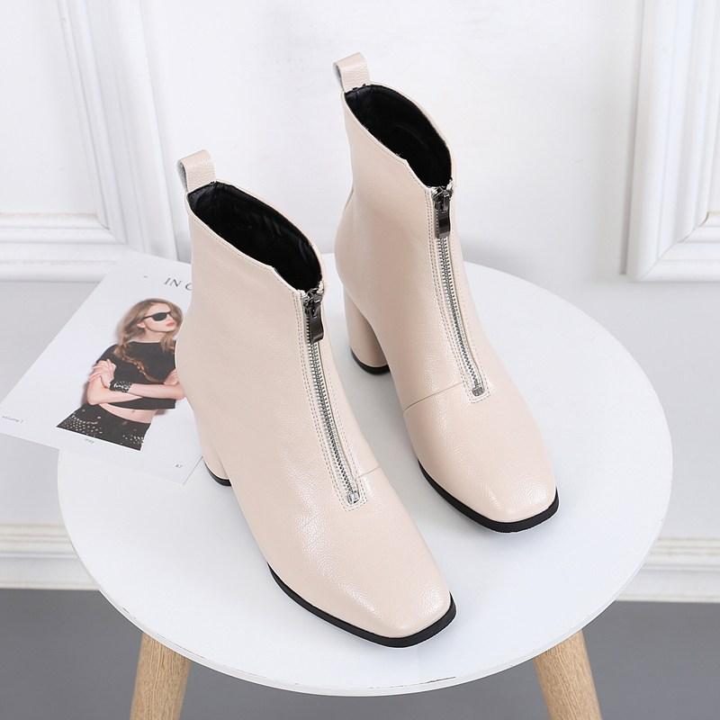 chinapnp0.8MP15 여자워커힐 신발 여성앞 지퍼 통굽 하이힐 스퀘어 영국스타일 워커 2019가을겨울셋트 진피 굽이얕은부츠