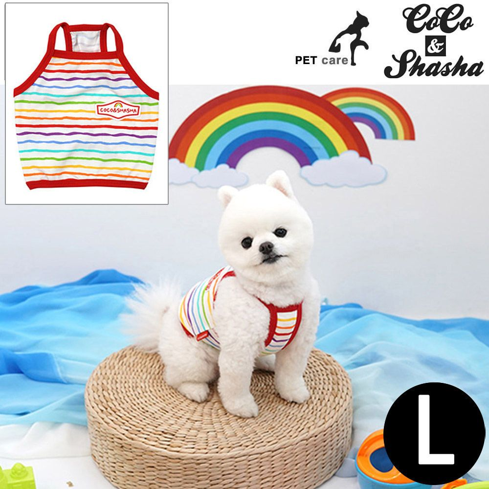 YJ_3038 + 강아지 티셔츠 +TWON#+ 레인보우 크롭 티셔츠 (레드) (L)