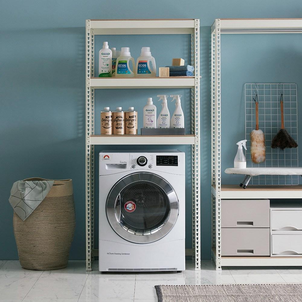 스피드랙 세탁실 W800 X D800 무볼트 조립식 철제 앵글선반 수납장, 1800:3단 화이트