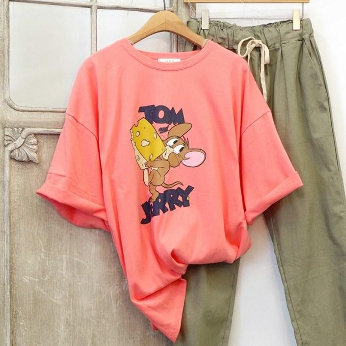 [여성패션] 치즈제리 프린팅 롱 반팔 티셔츠 루즈핏 - 랭킹60위 (14800원)