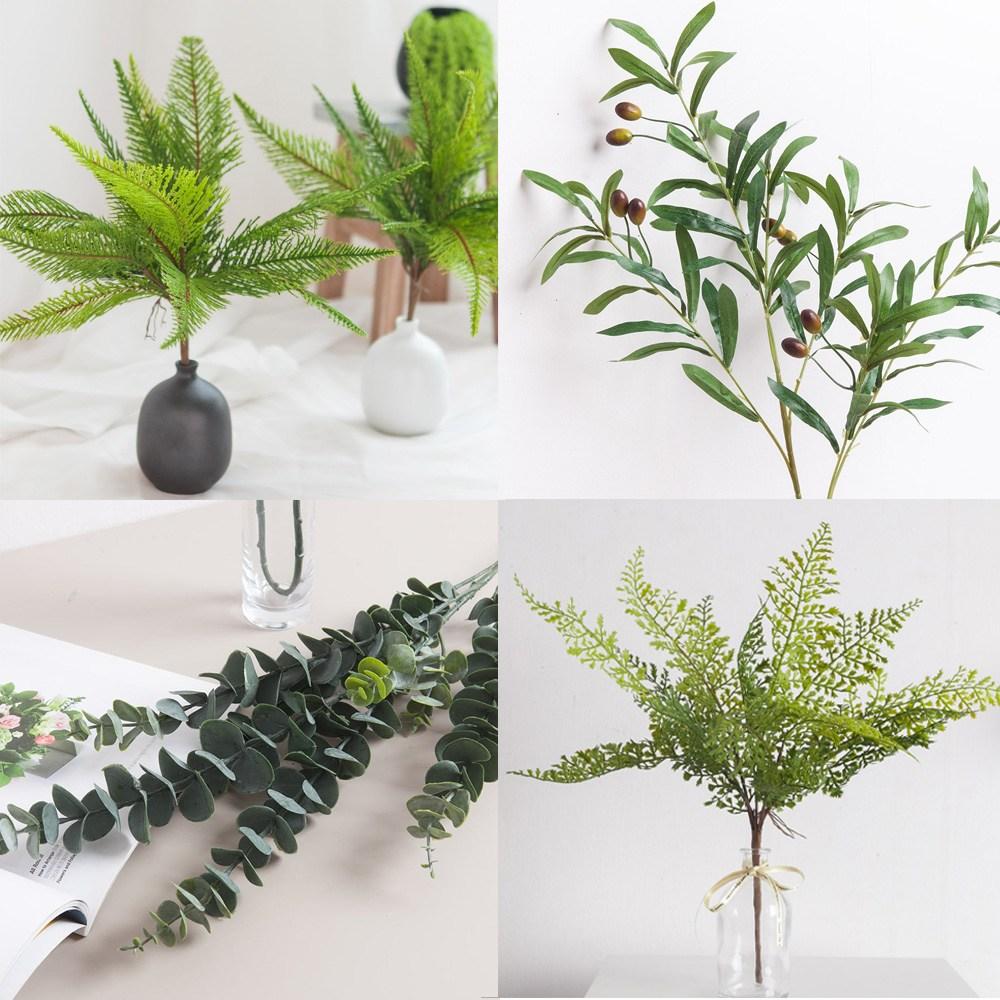안구정화 플랜테리어 녹색 식물 인테리어 조화 잎 6종, 노블유칼립투스가지 85cm