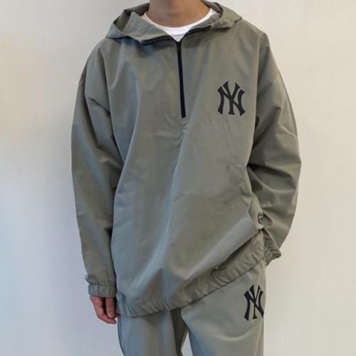 MLB NY 뉴욕양키스 우븐 아노락 빅사이즈 트레이닝 후드 집업 반집업 바람막이 커플 운동복 세트