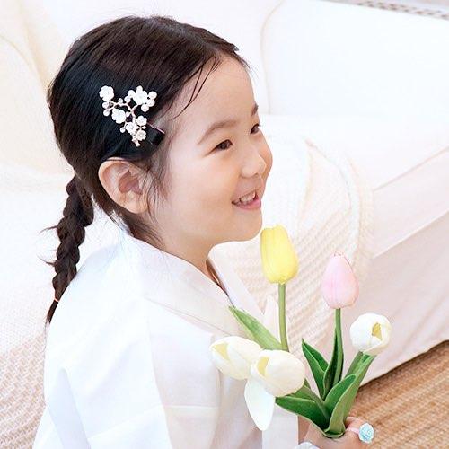 어린이 유아 추석 설날 한복 자게 꽃 집게핀 머리장식