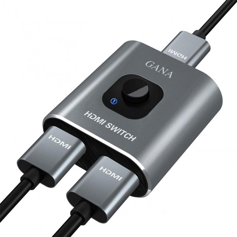 HDMI 변환 장치 GANA 스위칭 허브 HDMI 분배기 쌍 방향 선별기 1 입력 2 출력 / 2 입력 1 출력 4K / 3D