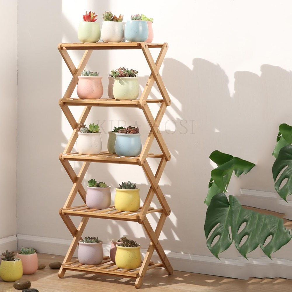 kirahosi 화분 받침대 원목 선반 정리대 식물 진열대 82호+덧신증정 Qq1x96o