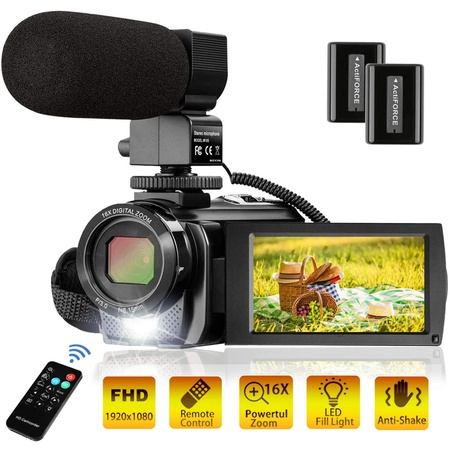 MELCAM 비디오 카메라 캠코더 FHD 1080P 30FPS 24MP 유튜브 카메라 마이크 3.0 인치 270도 회전 16X 줌 리, 상세 설명 참조0